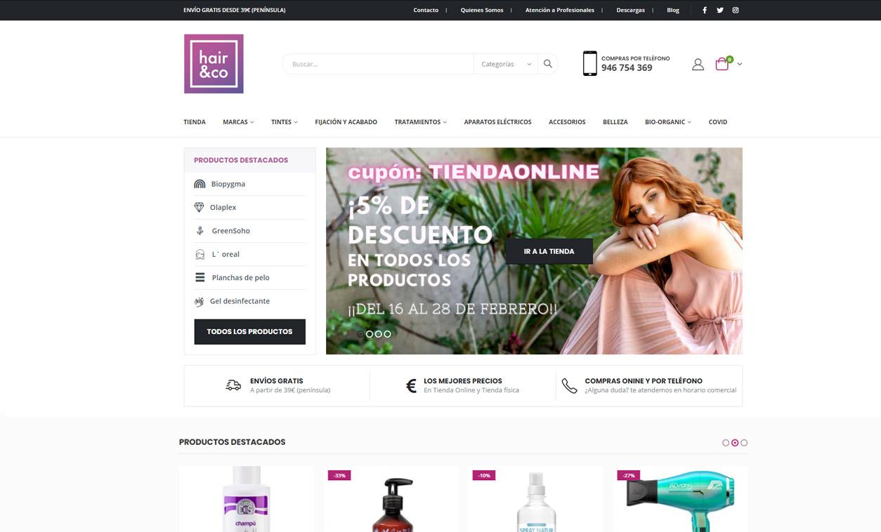 Diseño Web Tienda Online hair&co