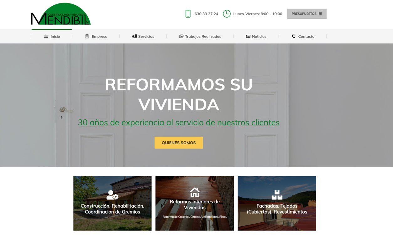 Diseño Web MENDIBIL Construcciones