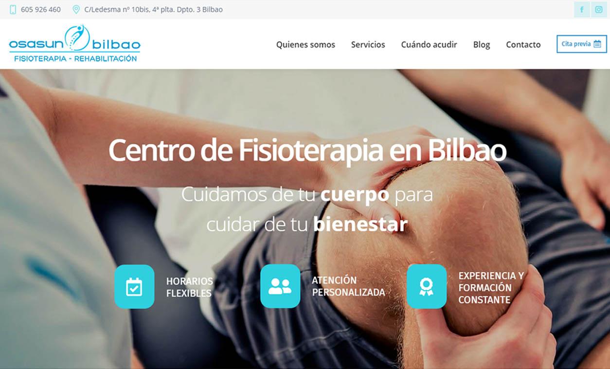 Diseño web Fisioterapia Osasun Bilbao