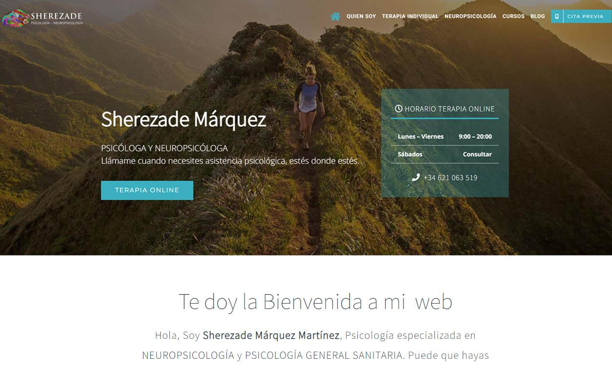 Diseño web psicóloga Sherezade Márquez